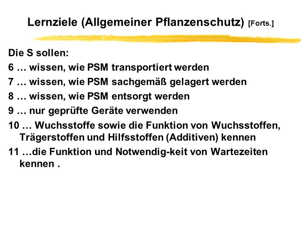 Lernziele (Allgemeiner Pflanzenschutz) [Forts.]